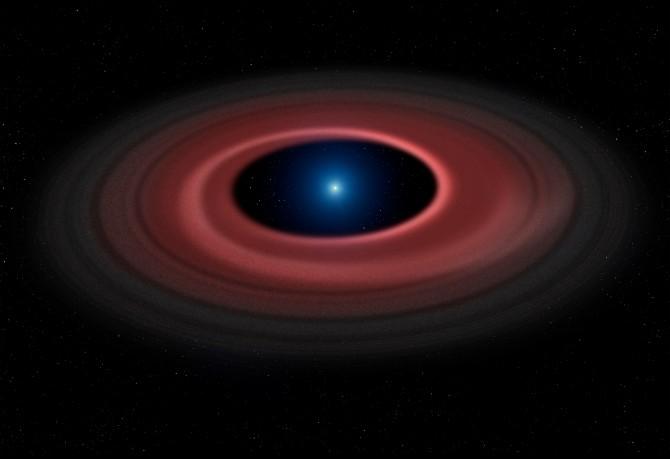 백색왜성 주위에서 강한 중력에 의해 산산조각 난 소행성의 파편들은 서로 부딪히며 가스를 내뿜고 자외선에 의해 검붉은 빛을 낸다. - Mark Garlick, University of Warwick 제공